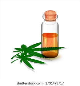 Cannabis oil and hemp leaves on a white isolated background.Cannabis Plant as Organic Medicines and Nutrition Ingredient.Stock vector illustration.