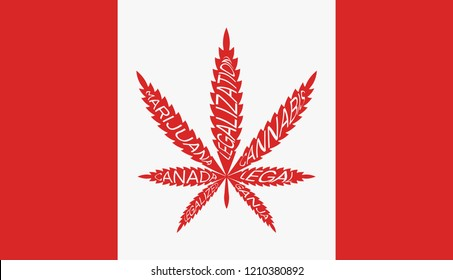 Cannabis on Canada flag. Marijuana Legalization in Canada. Vector red icon Legalize Canabis. Text on leaf of hemp.