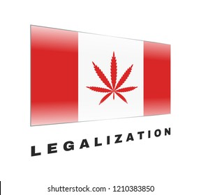 Cannabis on Canada flag. Marijuana Legalization in Canada. Vector red icon Legalize Canabis. Sign leaf of hemp.