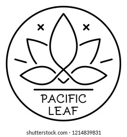 Cannabis pacific leaf logo. Outline cannabis pacific leaf vector logo for web design isolated on white background
