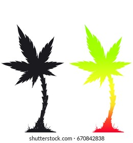 Cannabis palm tree vector illustration. Reggae festival poster. Music background.