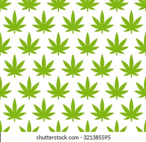 Cannabis plant seamless pattern. Simple stylized marijuana leaves on white background, vector illustration.