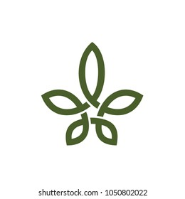 Cannabis pot leaf with line knot style logo design inspiration