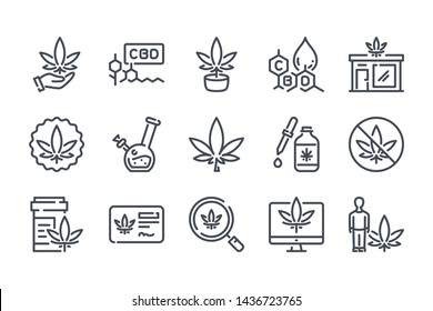 Cannabis related line icon set. Cannabidiol linear icons. Marijuanas outline vector signs and symbols collection.