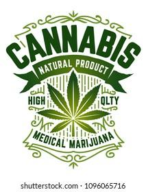 Cannabis Retro Style Emblem. Green emblem with marijuana leaf, ribbon and vintage patterns isolated on white. Vector art.