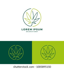 cannabis round circle logo vector download line art outline