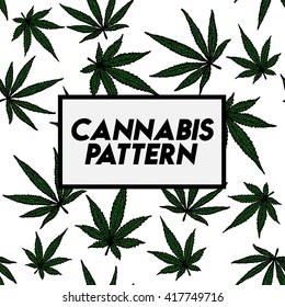 Cannabis seamless pattern background.