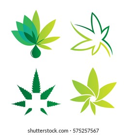 Cannabis sets of logo green color white background