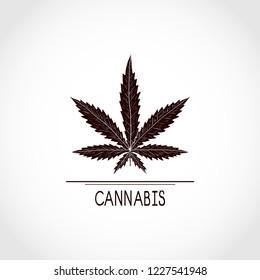 Cannabis. Sheet. Silhouette. Sign, symbol, logo, emblem.