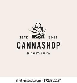 cannabis shop hipster vintage logo vector icon illustration