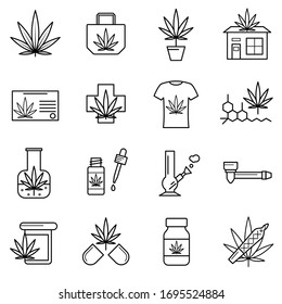 Cannabis Sign Black Thin Line Icon Set Include of Pill, Bottle and Tshirt. Vector illustration of Icons