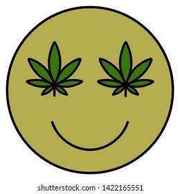 Cannabis smile. Smiling face. Drug consumption, marijuana use. Marijuana Legalization. Medical cannabis. Health and Medical therapy. Isolated vector illustration on white background.