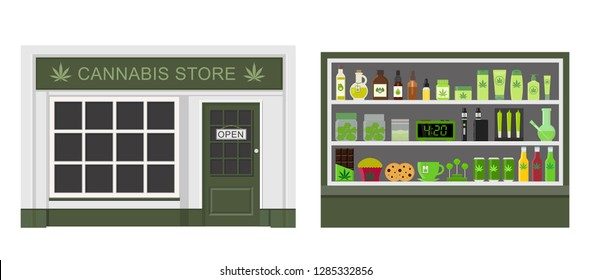 Cannabis store. Marijuana equipment and accessories for smoking, storing medical cannabis. Marijuana products. Marijuana Legalization. Isolated vector illustration.
