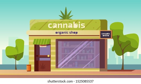 Cannabis store, marijuana organic shop building front view with equipment and accessories for smoking standing on showcase, cbd products online order service, weed purchase Cartoon vector illustration