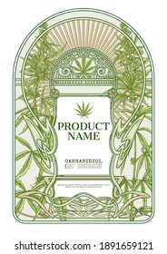 Cannabis Template for product label, cosmetic packaging. Easy to edit. In art nouveau style, vintage, old, retro style. Isolated on white background..