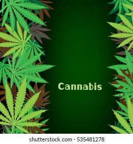 Cannabis text on hemp marijuana background. Green smoke hashish narcotic