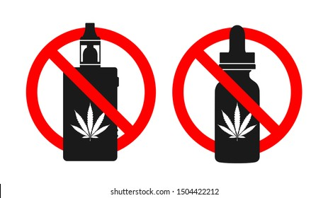 Cannabis vaping and cannabis vape liquid prohibition sign. Box mod and round glass bottle with cannabis sign. Vector illustration EPS10.