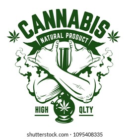 Cannabis Vector Emblem. Green monochrome emblem with crossed hands, bong and smoke isolated on white. Rastaman symbols. Vector art.