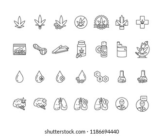 Cannabis Vector Icon Pack Medical Business Health CBD Oil Vape Lungs Medicinal Marijuana
