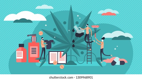 Cannabis vector illustration. Flat tiny persons medical raw herb collection set. Natural drug plant prescription for health. Sustainable ecological clothing, cosmetics, food and oil ingredient usage.