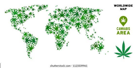 Cannabis world map composition of marijuana leaves. Narcotic distribution template. Vector world map is made of green cannabis leaves. Abstract territorial plan in green color hues.