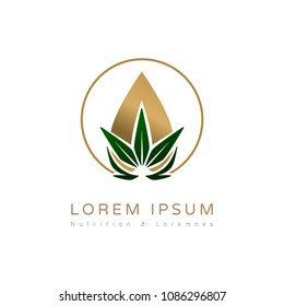 Cannabis/hemp abstract oil drop logo for branding identity. Vector image