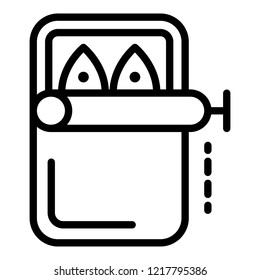 Canned fish icon. Outline illustration of canned fish vector icon for web design isolated on white background