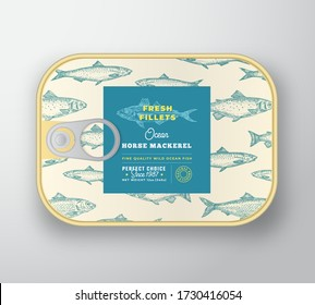 Canned Fish Label Template. Abstract Vector Aluminium Container with Label Cover. Packaging Design. Modern Typography and Hand Drawn Horse Mackerel Silhouette Background Layout. Isolated.