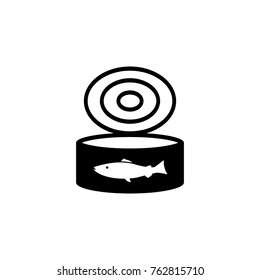 Canned fish Tuna can open or cat food vector icon black
