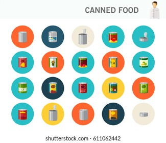 canned food concept flat icons.