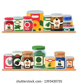 Canned food shelf vector illustration. Vegetable product tinned container metal packaging. Soup conserve package can. Healthy goods grocery meal. Canning tinned steel lid shop vegetarian poster.