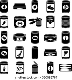 canned food symbols set
