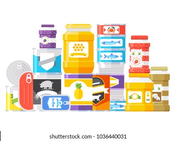 Canned goods isolated on white background. Vector illustration