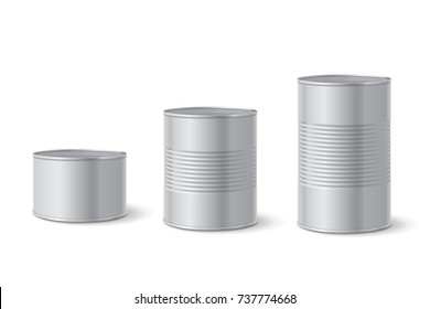 Canned metal packaging. Aluminum tin can for food. Realistic vector