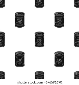 Canned olives in a can.Olives single icon in black style vector symbol stock illustration web.