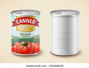 Canned stewed tomato package design in 3d illustration