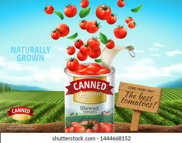 Canned tomato ads with fresh ingredients dropping into container on green field background, 3d illustration