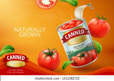 Canned tomato ads with fresh vegetables in 3d illustration