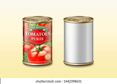 Canned tomato puree mockup in 3d illustration