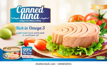 Canned tuna ads with fresh vegetables in 3d illustration