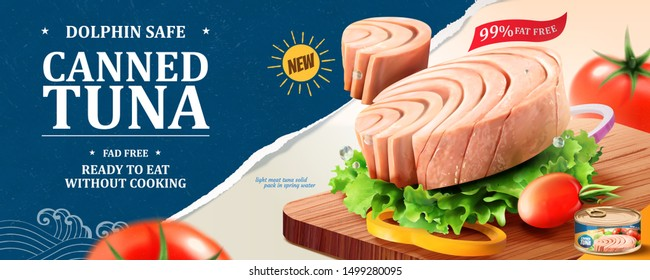 Canned tuna banner ads with lettuce and tomatoes on chopping board in 3d illustration
