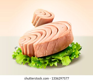Canned tuna with lettuce in 3d illustration