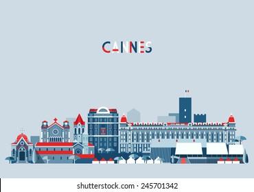 Cannes (France) city skyline vector background. Flat trendy illustration.