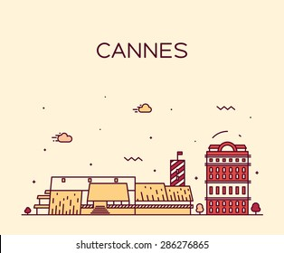 Cannes skyline, detailed silhouette. Trendy vector illustration, linear style.