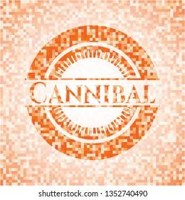 Cannibal abstract orange mosaic emblem