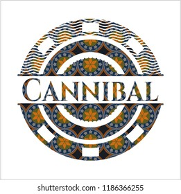 Cannibal arabesque emblem background. arabic decoration.