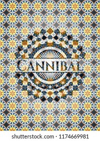 Cannibal arabesque style emblem. arabic decoration.