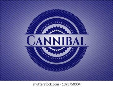 Cannibal badge with denim background. Vector Illustration. Detailed.