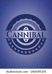 Cannibal badge with denim texture. Vector Illustration. Detailed.