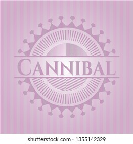 Cannibal badge with pink background